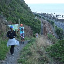 Dropping down to the railway line.
