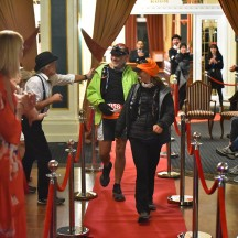 Undoubtably one of the most unique race finishes we've ever experienced - on a red carpet in the ballroom of Chateau Tongariro. (Credit: photos4sale.)
