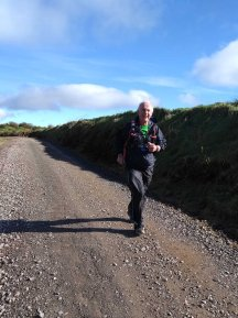 Rob looking happy at the thought of finishing the first half of the Ultra course.