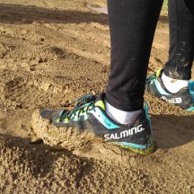 Giving our shoes a good workout in the mud.