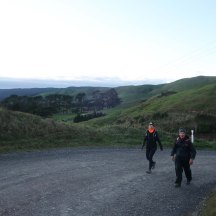 Walking up the hills, which makes up the bulk of the first 10km.