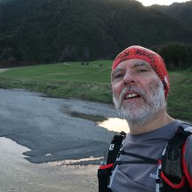 Gerry on the Ballance Bridge with the Ferry Reserve (Race HQ) in the background.