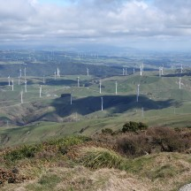 The windfarm remains quite a sight from up here.