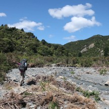 The route follows the riverbed for the first half kilometre or so.