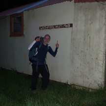 "Arriving at the hut that was ""born"" the same year as Gerry!"