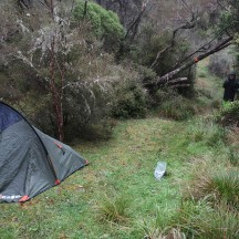 Our marshalling spot, geared with gels, tent, stove and camera.