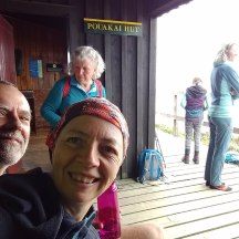 Very busy at the Pouakai Hut with loads of day walkers of all ages.