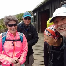 Meeting our New Plymouth mates for lunch at the hut. And off course a joke was cracked just before the shot was taken.