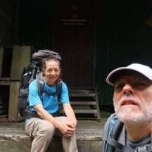 Our lunch spot at the hut. Relieved to sit down after a long continuous uphill.