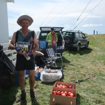 Roger Jones at the aid station on top of Mt Kahuranaki.