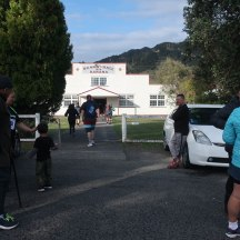 Gerry on his way into the Marae to top up his water bottles.