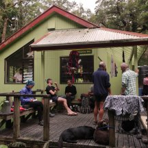 Socialising outside the YTYY hut.