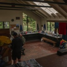 Inside the hut.